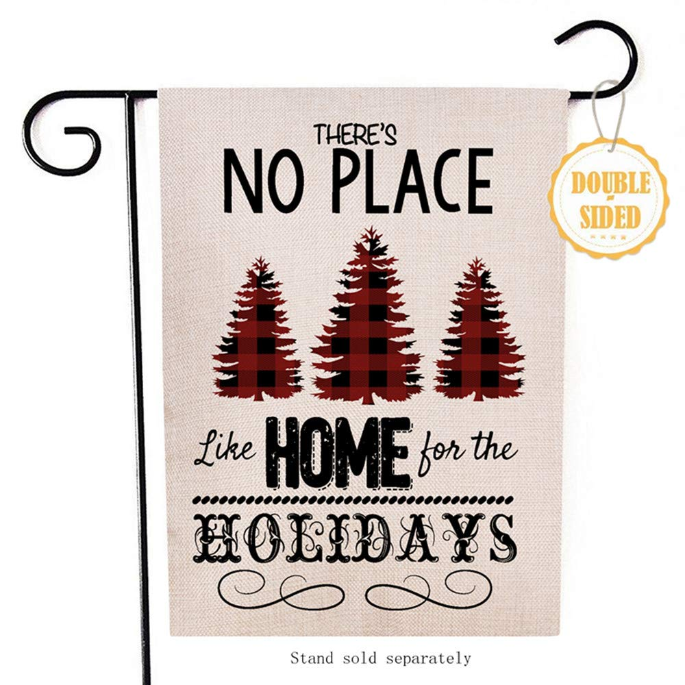 Hzppyz There's No Place Like Home for The Holidays Christmas Garden Flag, Decorative Xmas Outdoor Flag Buffalo Check, Rustic Burlap House Yard Flag Winter Outside Decoration Home Decor Flag 12.5 x 18