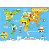 Collins childrens world map collins primary atlases amazon detailed kids graphic map of the world with animals and continent names size 48 x gumiabroncs Image collections