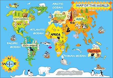 Detailed Kids Graphic Map Of The World With Animals And Continent