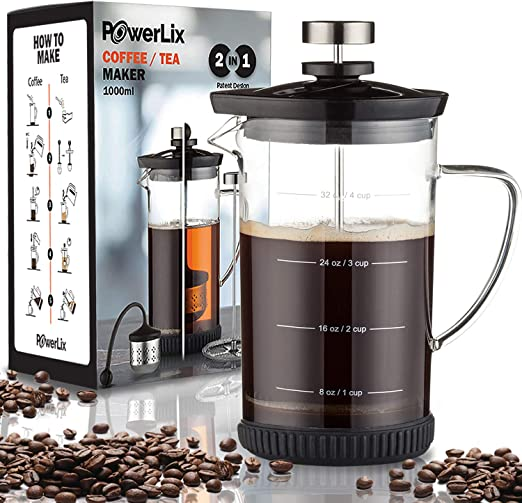 Amazon.com: Cafetera de prensa francesa Powerlix (34 oz ...