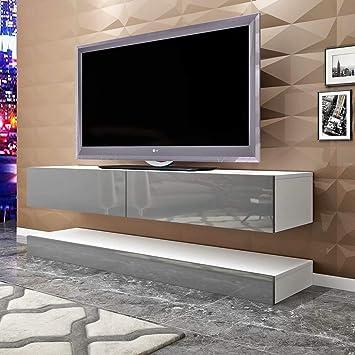 Mueble de TV Flotante de Color Gris para Colgar en la TV, Moderno Mueble de salón LED con diseño de gabinetes de TV: Amazon.es: Electrónica