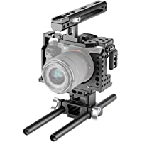 Neewer Camera Video Cage Rig Compatible with Sony A7RIII/A7III Camera, with Top Handle Grip and Cold Shoe Mount, Aviation Aluminum Design for Video Film Movie Making