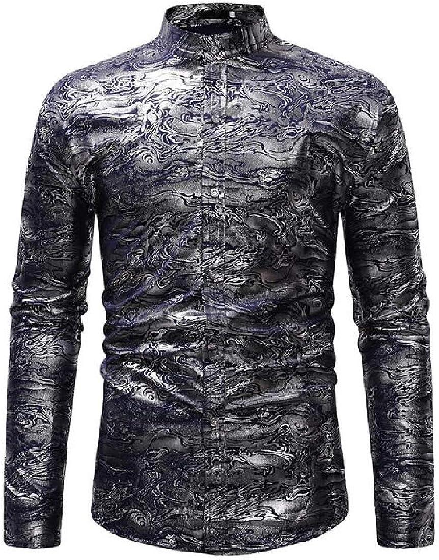 GRMO Men Shirts Casual Long Sleeve Stand Collar Button Down Printing Dress Shirt Top