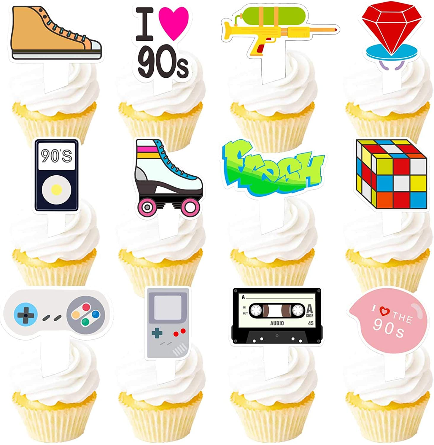 90s Cupcake Topper 1990s Retro Theme Decor Picks for 90's Decade Throwback Party Decorations Supplies 24pcs