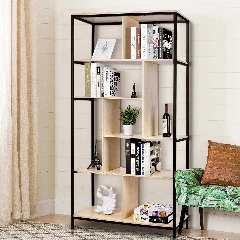 amzdeal Book shelf Unit Large 5-Tier Bookcase Standing Shelf Iron Frame Office Living Room Furniture Industrial Wooden Shelving Display Storage Unit Bookshelf for Living Room