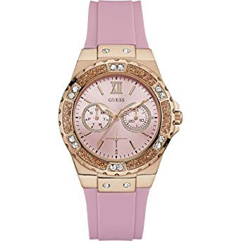 Guess Womens Iconic U1053L3 Rose-Gold Silicone Japanese Quartz Fashion Watch