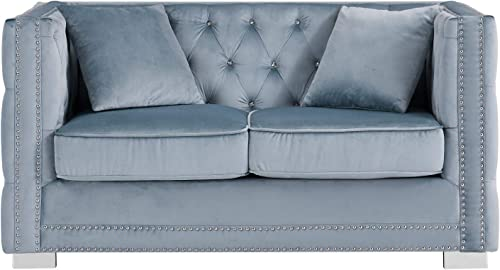 Iconic Home Christophe Love Seat Sofa Velvet Upholstered Button Tufted Nailhead Trim Shelter Arm Design Silver Tone Metal Block Legs Modern Transitional