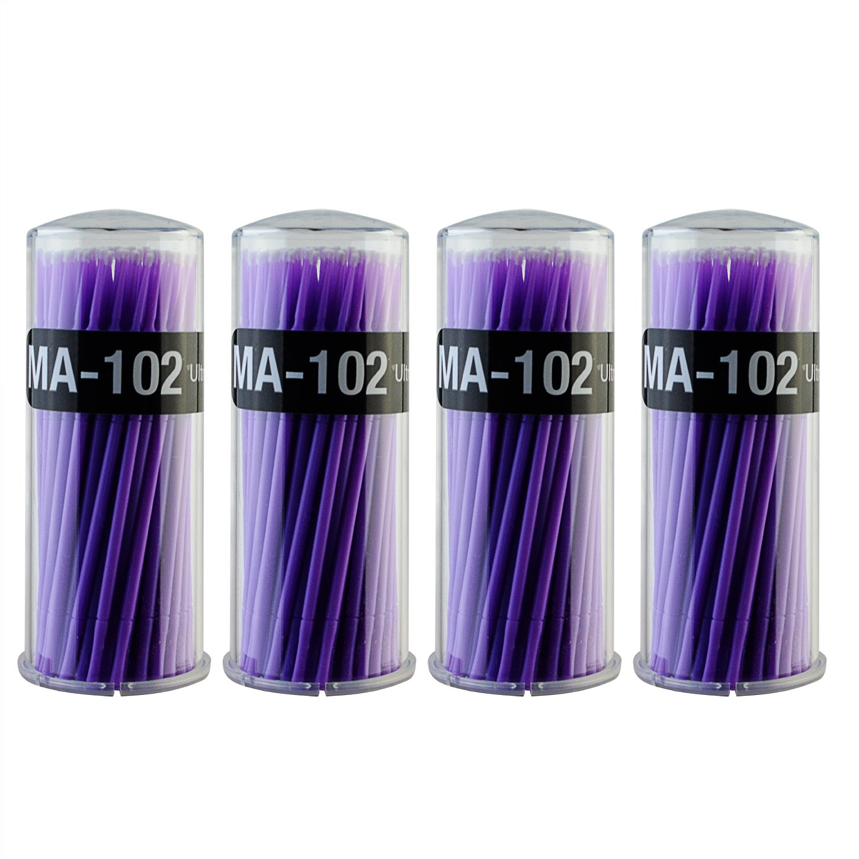 400 PCS Micro Applicator Brushes Dental Brush - Yookat Disposable Micro Applicator Brushes for Eyelash Extensions, Dental and Oral Using Micro Brushes Bendable Microfiber Applicators Purple