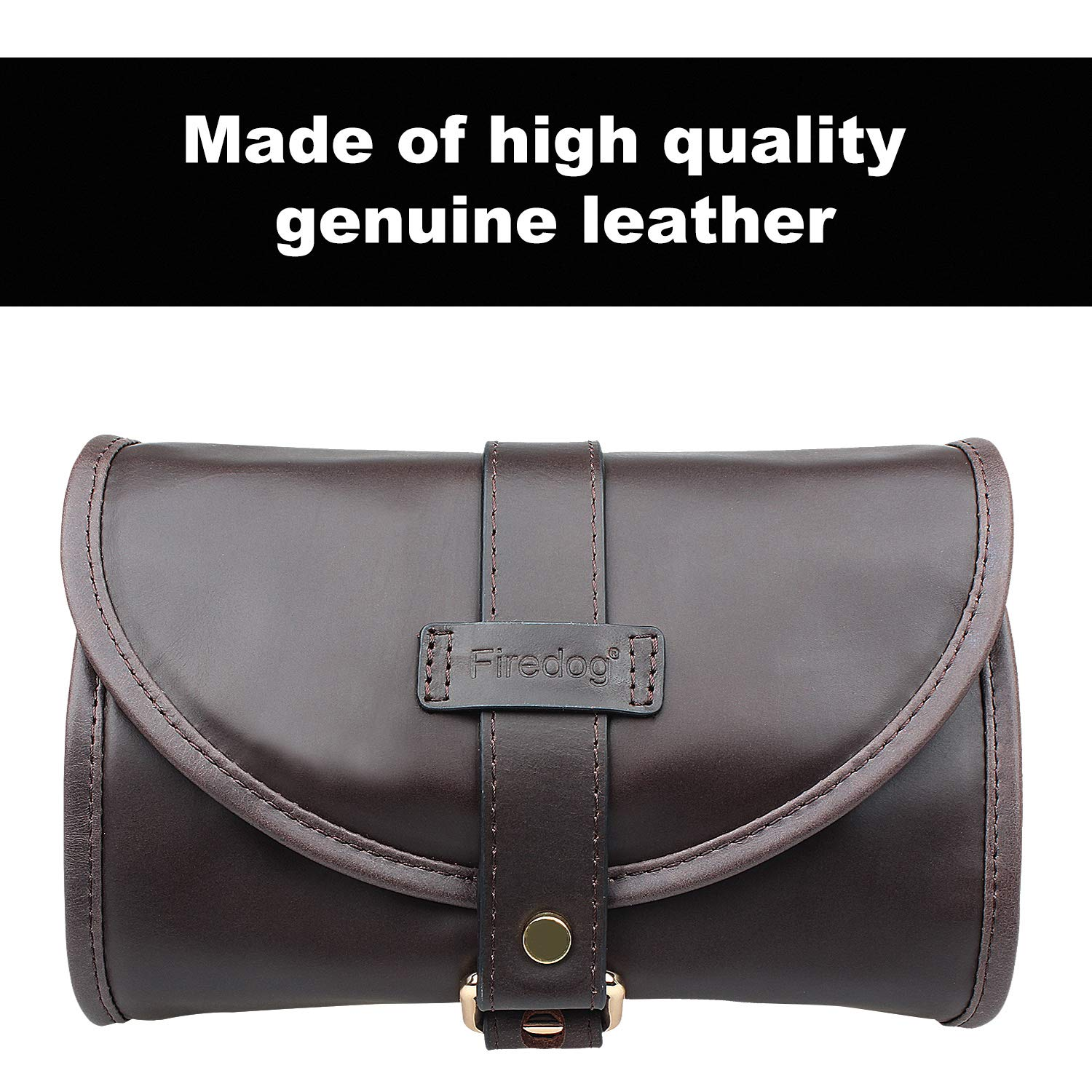 Traditional Brown Genuine Leather Tobacco Smoking Pipe Pouch Bag Organize Case Pipe Tool lighter Holder Pocket for 2 Pipe (black-brown) by Unknown (Image #3)