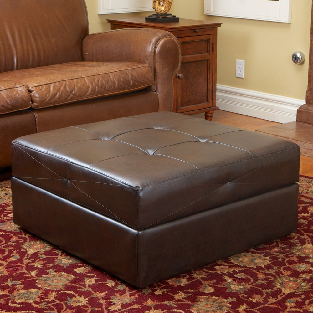 Amazoncom Bestselling Burlington Leather Storage Ottoman Brown - Leather covered coffee table