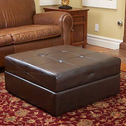 Charming Best Selling Burlington Leather Storage Ottoman, Brown