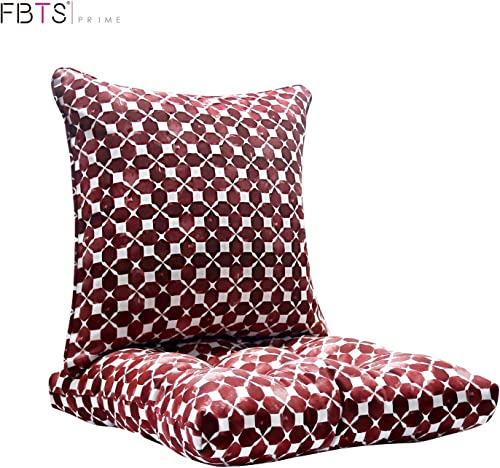 FBTS Prime Outdoor Chair Cushion and Outdoor Pillow Red 20×20 Inch Patio Decorative Set for Outdoor Patio Indoor Furniture Garden Home Office