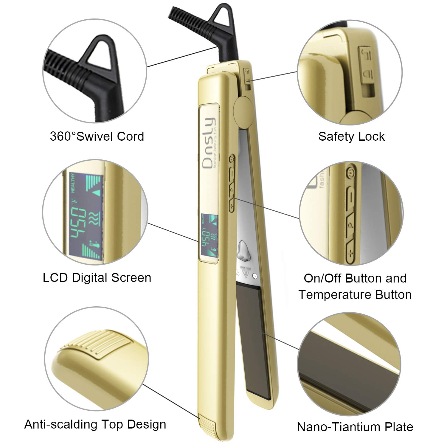 Professional Salon Flat Iron Hair Straighteners With 1 Inch Titanium Plates, Negative Ion technology, Adjustable temperature suitable for all hair types, Dual Voltage, Heats Up Fast, Gold by Dnsly (Image #3)