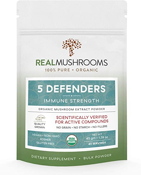 Real Mushrooms 5 Defenders Organic Mushroom Extract Blend
