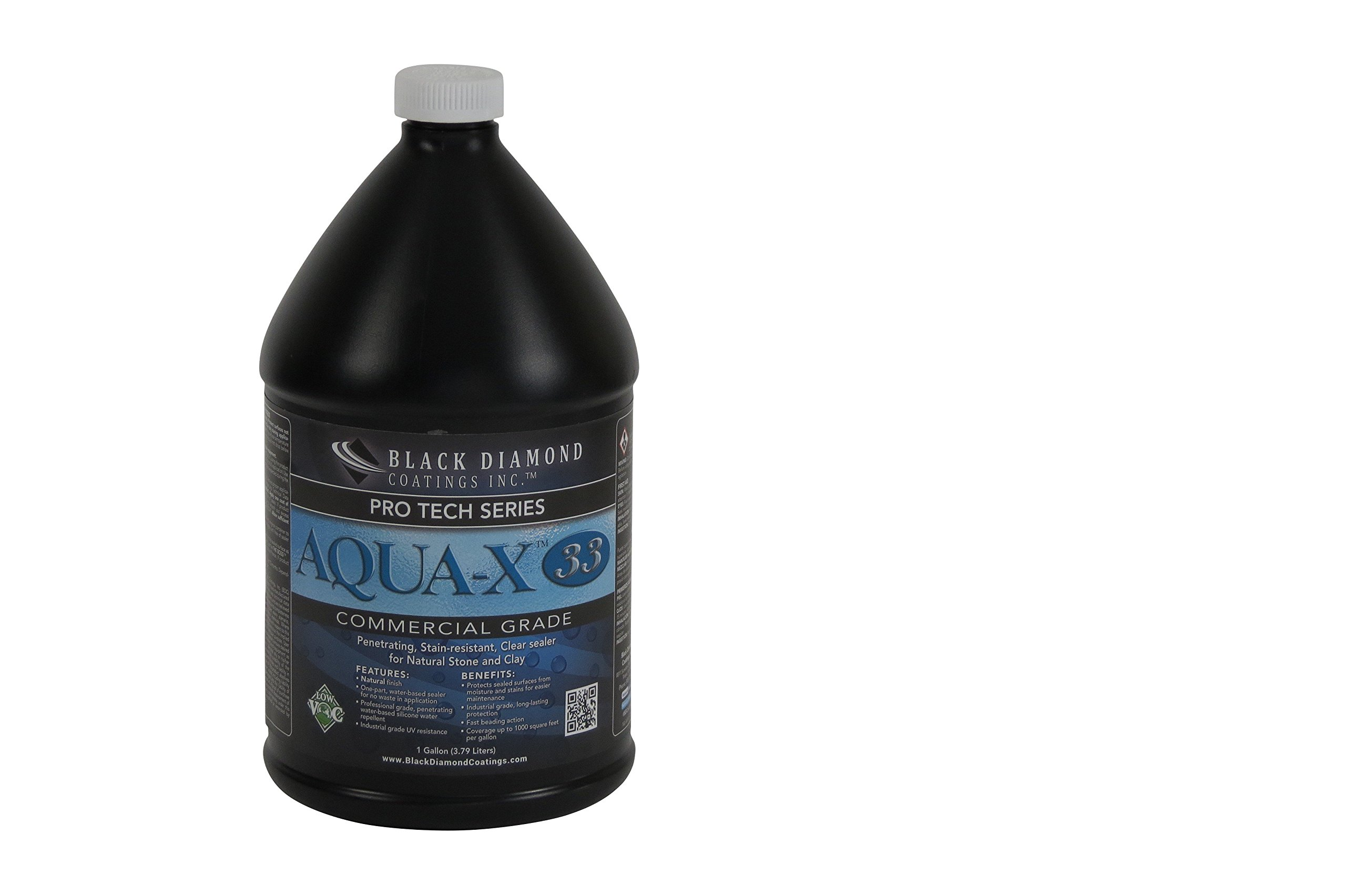 Aqua - X 33 Clear Sealer for Natural Stone & Clay - Stain Resistant, Clay Pavers and Stone Sealant, PRO TECH Series by BLACK DIAMOND COATINGS INC. (1 Gallon)