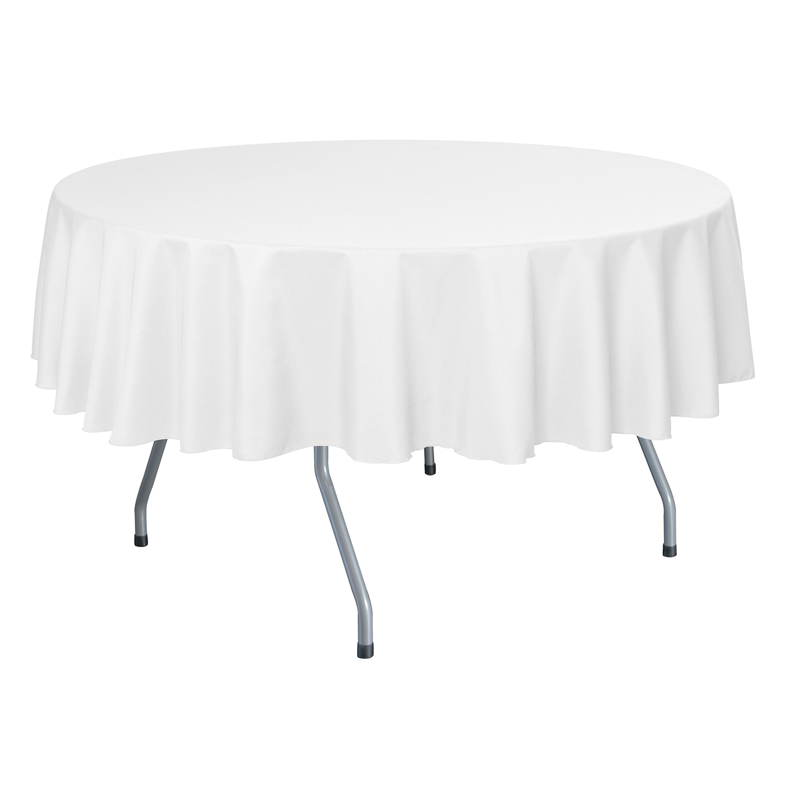 Ultimate Textile (10 Pack) 84-Inch Round Polyester Linen Tablecloth - for Wedding, Restaurant or Banquet use, White