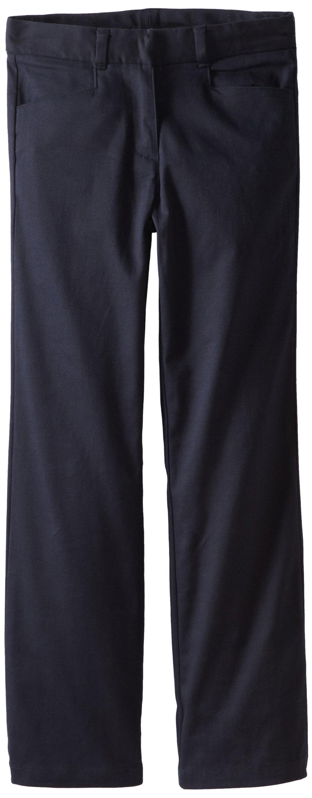 Nautica Big Girls' Uniform Stretch Twill Bootcut Pant, Su Navy,7 by Nautica (Image #1)