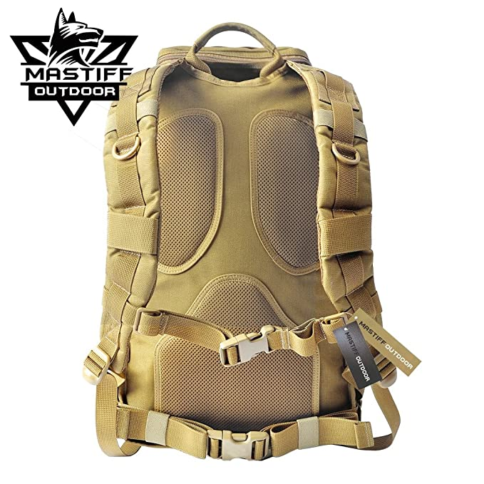 b8f47dd9a Mastiff Outdoor Tactical Venture Backpack Military MOLLE Camping Rucksack  (Black), Vents & Deck Plates - Amazon Canada