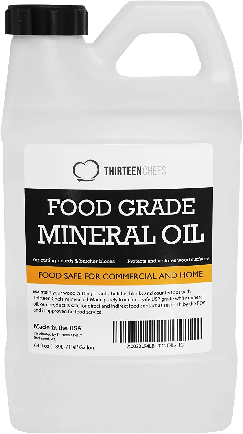 Thirteen Chefs Food Grade Mineral Oil for Cutting Boards, Countertops and Butcher Blocks - Food Safe and Made in The US 64oz, Half Gallon