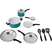 Farberware Purecook Ceramic Nonstick Cookware 12 Piece Cookware Set, Aqua