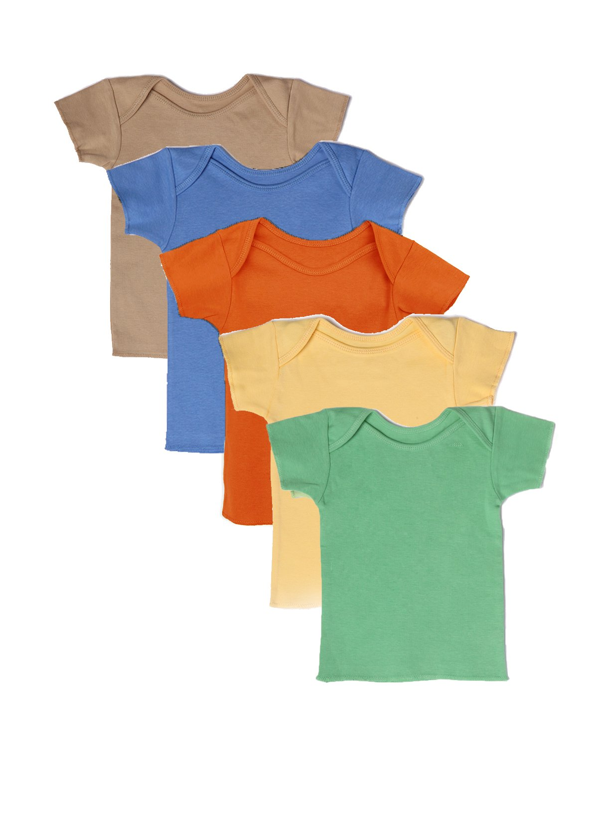 Best of Chums Baby Infant Short Sleeve Lap tee Shoulder Multicolor Pack of 5 Unisex 100% Cotton