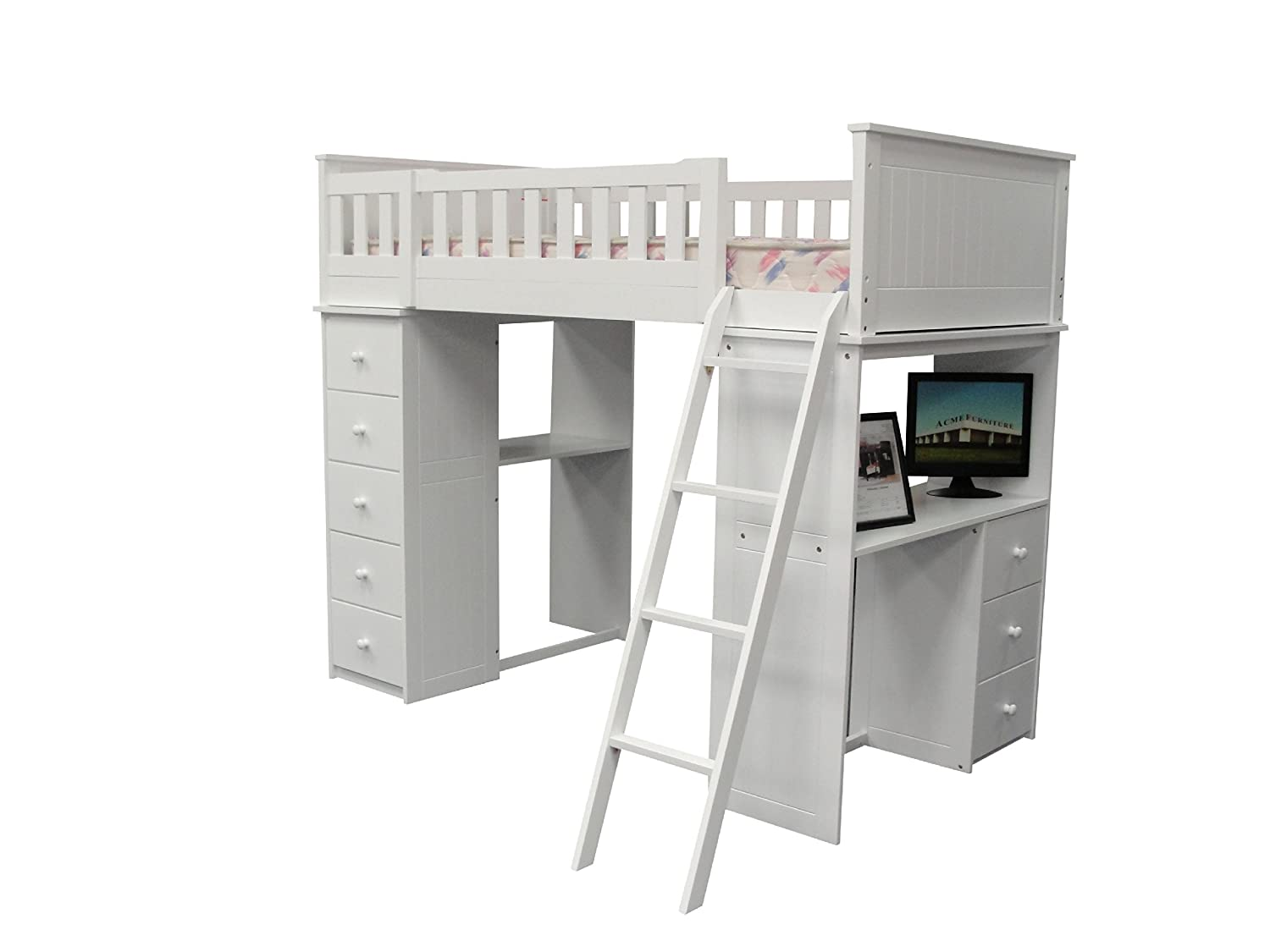 Amazon.com: ACME Willoughby White Loft Bed: Kitchen \u0026 Dining
