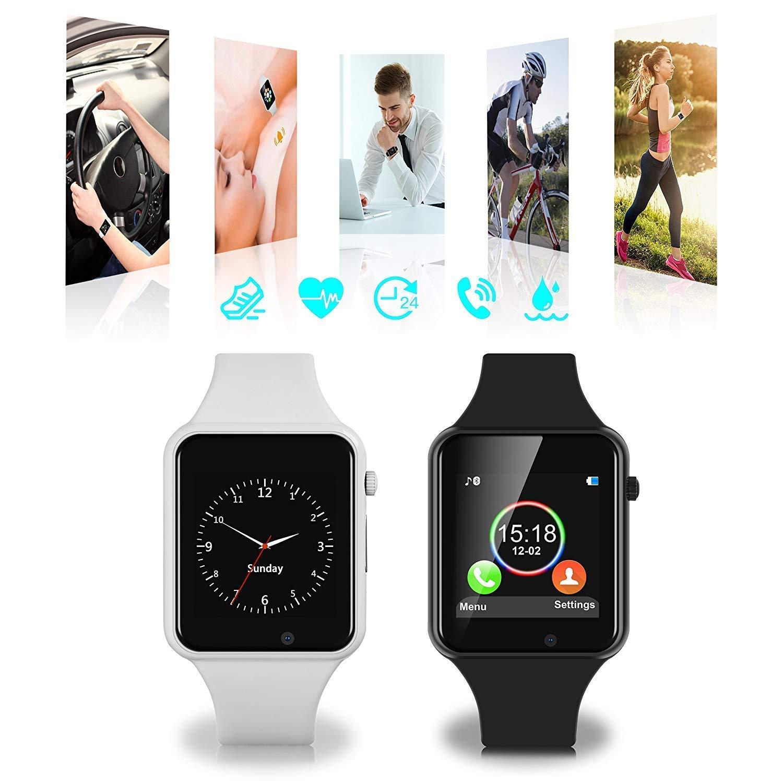 Smart Watches,SUNETLINK Touch Screen Bluetooth Smart Watch,Sport Smart Fitness Tracker Wrist Watch with Camera,Sweatproof Smart Watch with SIM TF Card,Smart Watches for Men Women (White, X1)