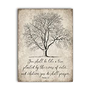 You Shall Be Like a Tree Vintage Wall Art Sign,Antique Bible Verse,Rustic Wooden Sign for Home Decor