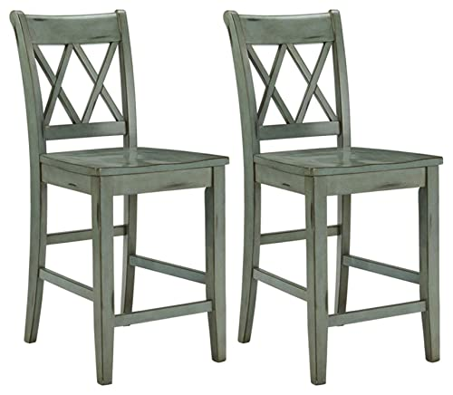 Signature Design by Ashley – Mestler Bar Stool – Counter Height – Vintage Casual Style – Set of 2 – Blue Green