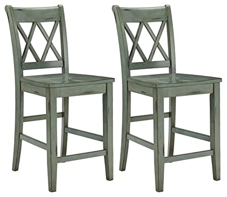 Ashley Furniture Signature Design – Mestler Bar Stool – Counter Height – Vintage Casual Style – Set of 2 – Blue Green