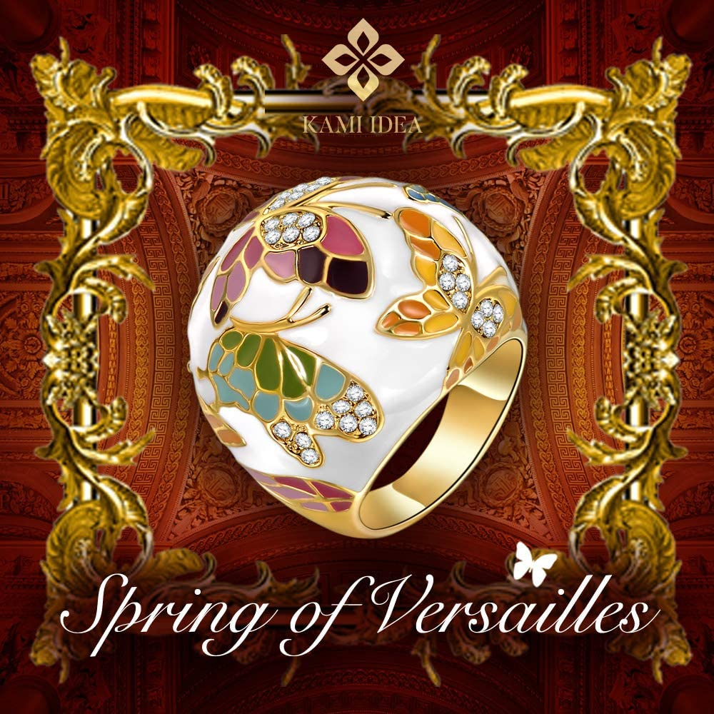 Kami Idea Bague Printemps de Versailles Papillon /Émail Exquis Bo/îte /à Bijoux Cadeaux Bijoux F/ête des M/ères