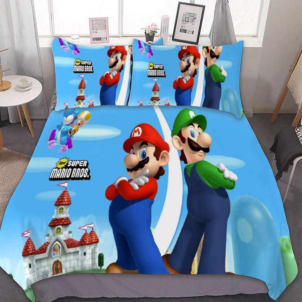 MEW Anime Full/Queen Bedding Duvet Cover Set,Mario Luigi Yoshi (3),3 Pieces Bedding Set,with Zipper Closure and 2 Pillow Shams,Cute Boys Girls Comforter Sets,Luxury Bedroom Decorations
