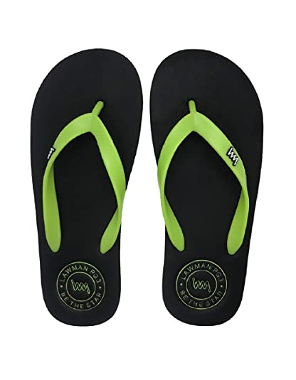 6765331c3c1a LAWMAN PG3 Men s Black and Green Fur Flip-Flops and House Slippers ...