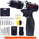 Cordless Drill with 2 Batteries - GOXAWEE Electric Screw Driver Set 100pcs (Max Torque 30Nm, 2-Speed, 10mm Automatic…