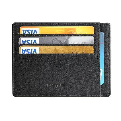 Cartera Billetera para Hombre Pequeña Tarjetero RFID de Piel con Monedero(Negro)