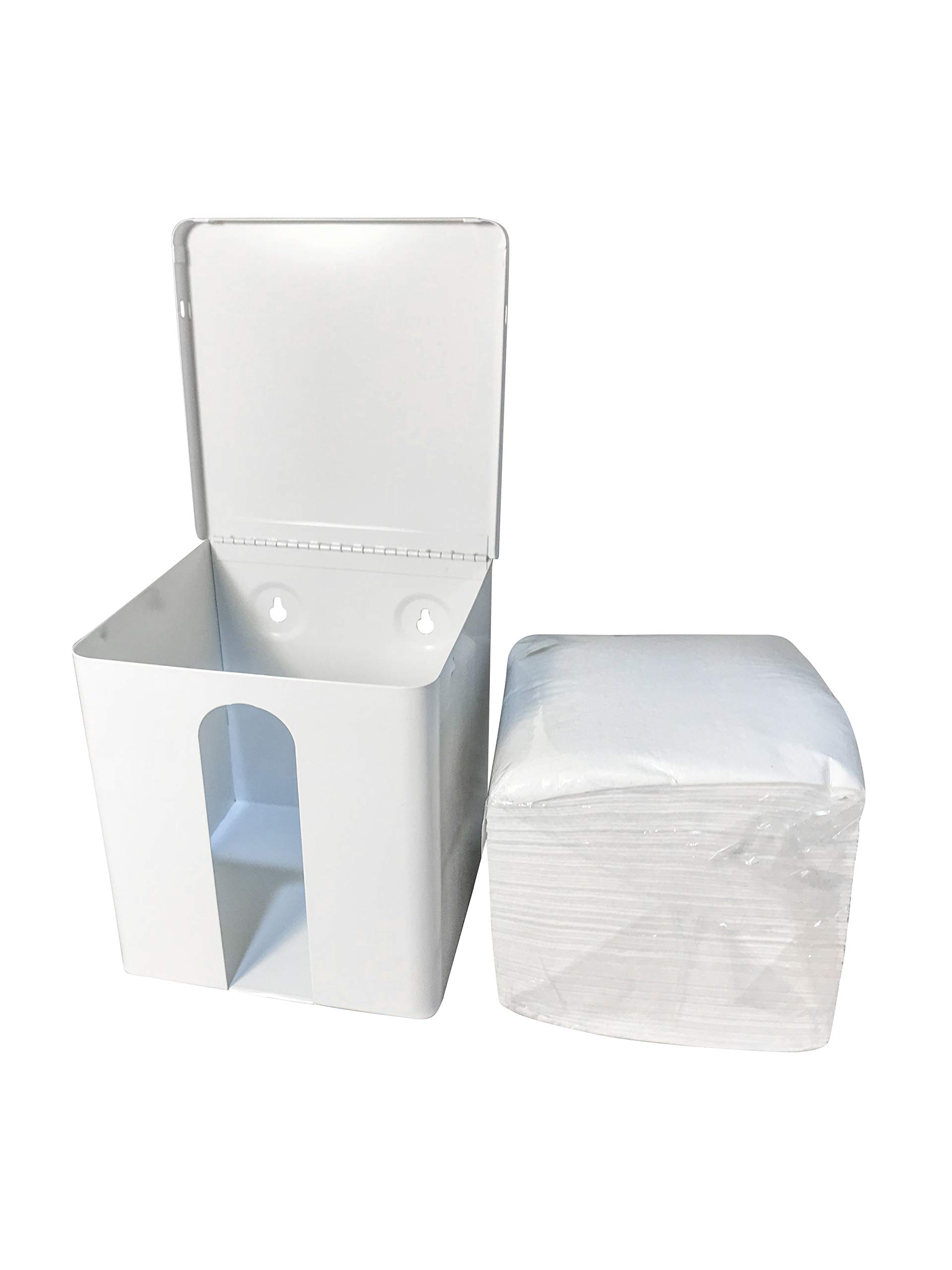 Disposable Washcloth Dispenser (6.75 x 6.75 x 7.12, White) Holds 1/4 fold Dry washcloths up to 13'' x 13''