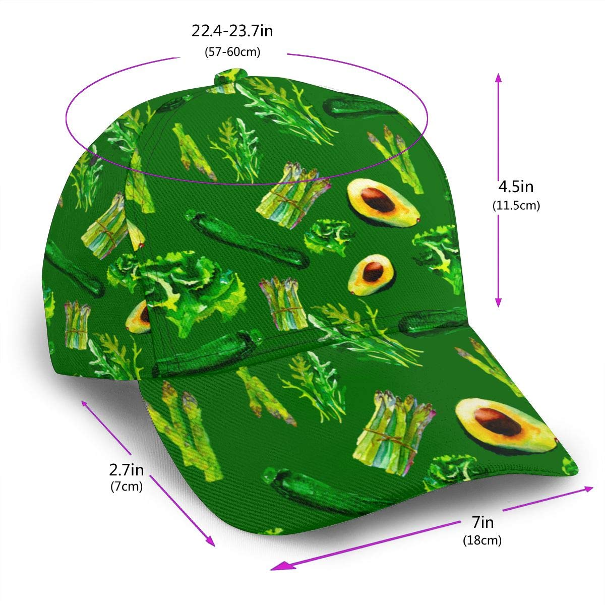 Kunming~ Vegetable Boy Adult Cap Adjustable Cowboys Hats Black