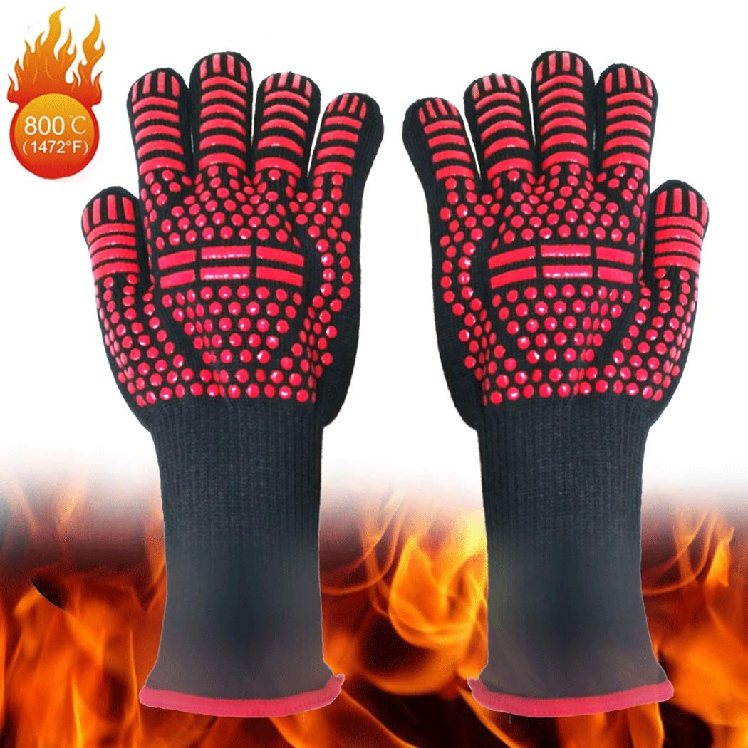 Heat-resistant Barbecue Gloves, Food-grade Kitchen Oven Gloves, Elastic Silicone Non-slip Cooking Gloves, Suitable For Barbecue(1 Pair) (Color : Red, Size : 33cm)