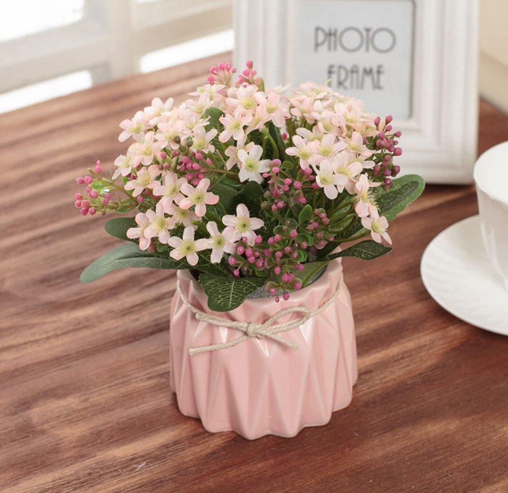 IOC Fleurs Artificielles Bouquets de Roses Ensemble de Marguerites Modèle Maison Décoration Table de Salon Maison Florale Plantes en Pot,E
