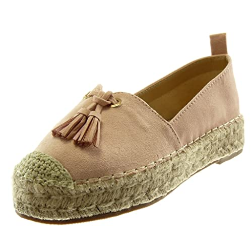 Angkorly - Zapatillas Moda Alpargatas Slip-on Plataforma Mujer Pompom Fleco Cuerda Tacón Ancho 3.5 CM: Amazon.es: Zapatos y complementos
