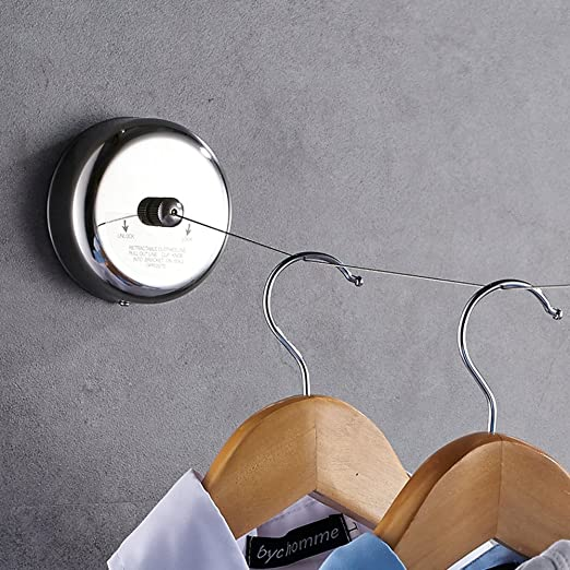 Steel Wire Rope Retractable Clothes Wall Hanger Indoor Invisible Clothesline Kit