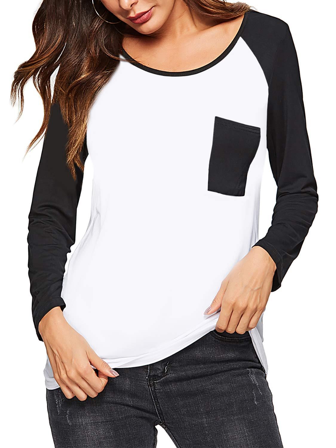 Amortu Women's Crew Neck Shirts Sretch Long Sleeve Raglan Baseball T-Shirt Black L by Amoretu (Image #1)
