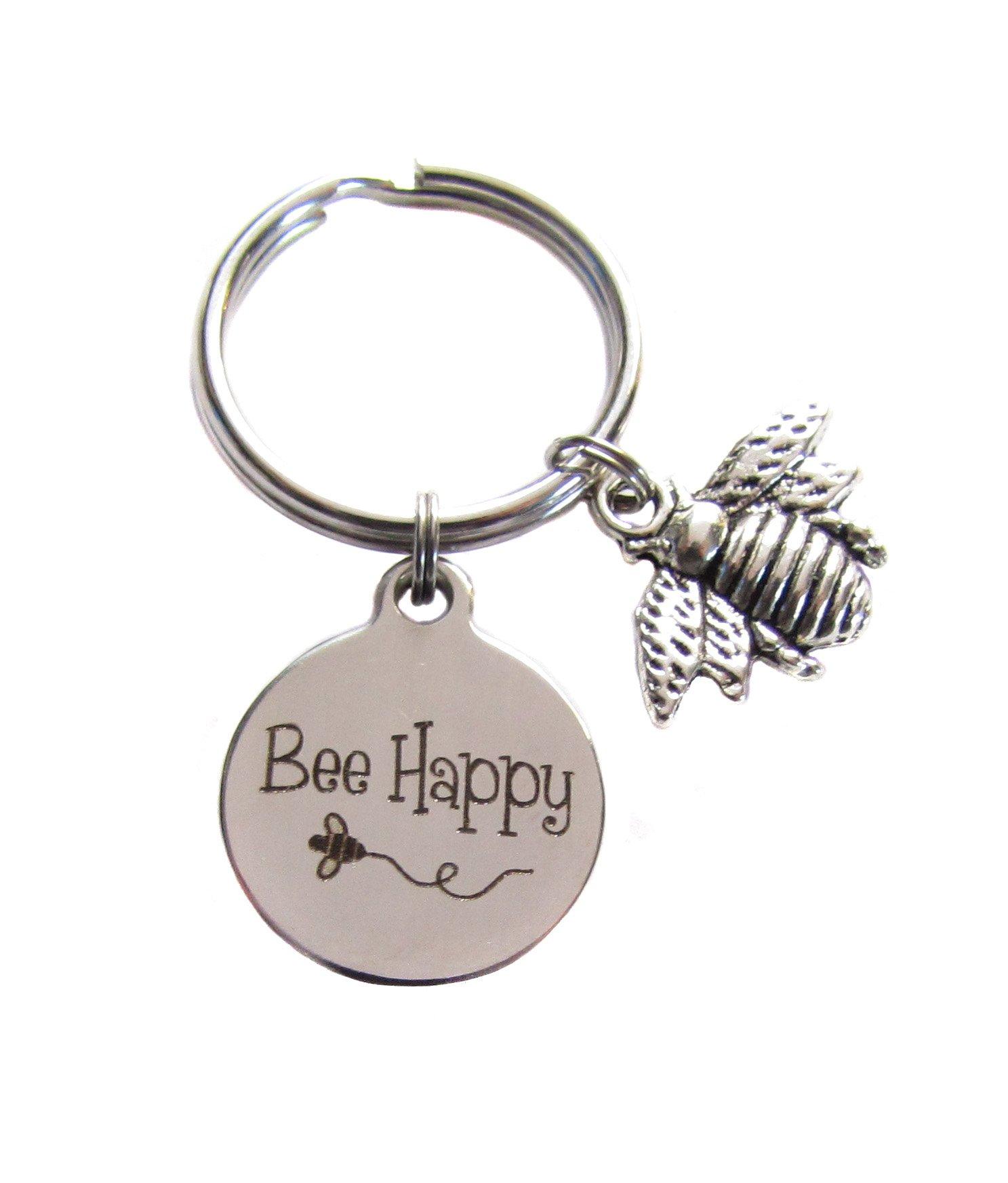 Bee Happy Honey Bee Queen Bee Bumblebee Bee Key Chain Bag Charm