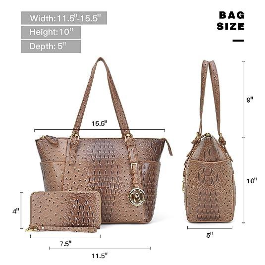 8aa7eac698 Amazon.com  Dasein Women s Handbags Satchel Bags Vegan Leather Handbags  Tote Micro Luggage (01 Ostrich- Beige-1)  Shoes