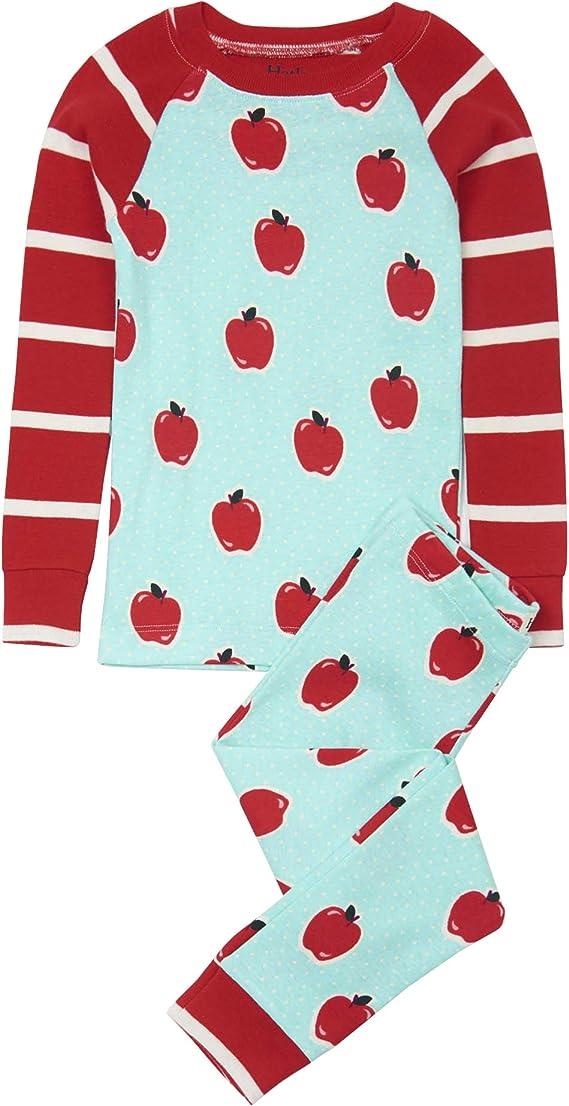 Hatley - Pijama de manga larga (algodón orgánico), diseño de manzanas y lunares - Negro - 104 cm/4 años: Amazon.es: Ropa y accesorios