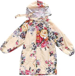 CADANIA Kids Raincoat Waterproof Hooded Raincoat Flower Rain Poncho Peony Print - S