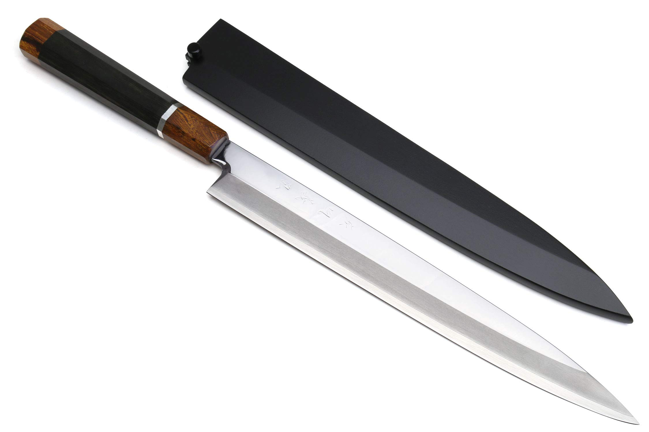 Yoshihiro R-2 Powdered Stainless Steel Yanagi Sashimi Knife with Nuri Saya (10.5'' (270mm), Mirror Polished, Silver Ring Ebony Handle) by Yoshihiro