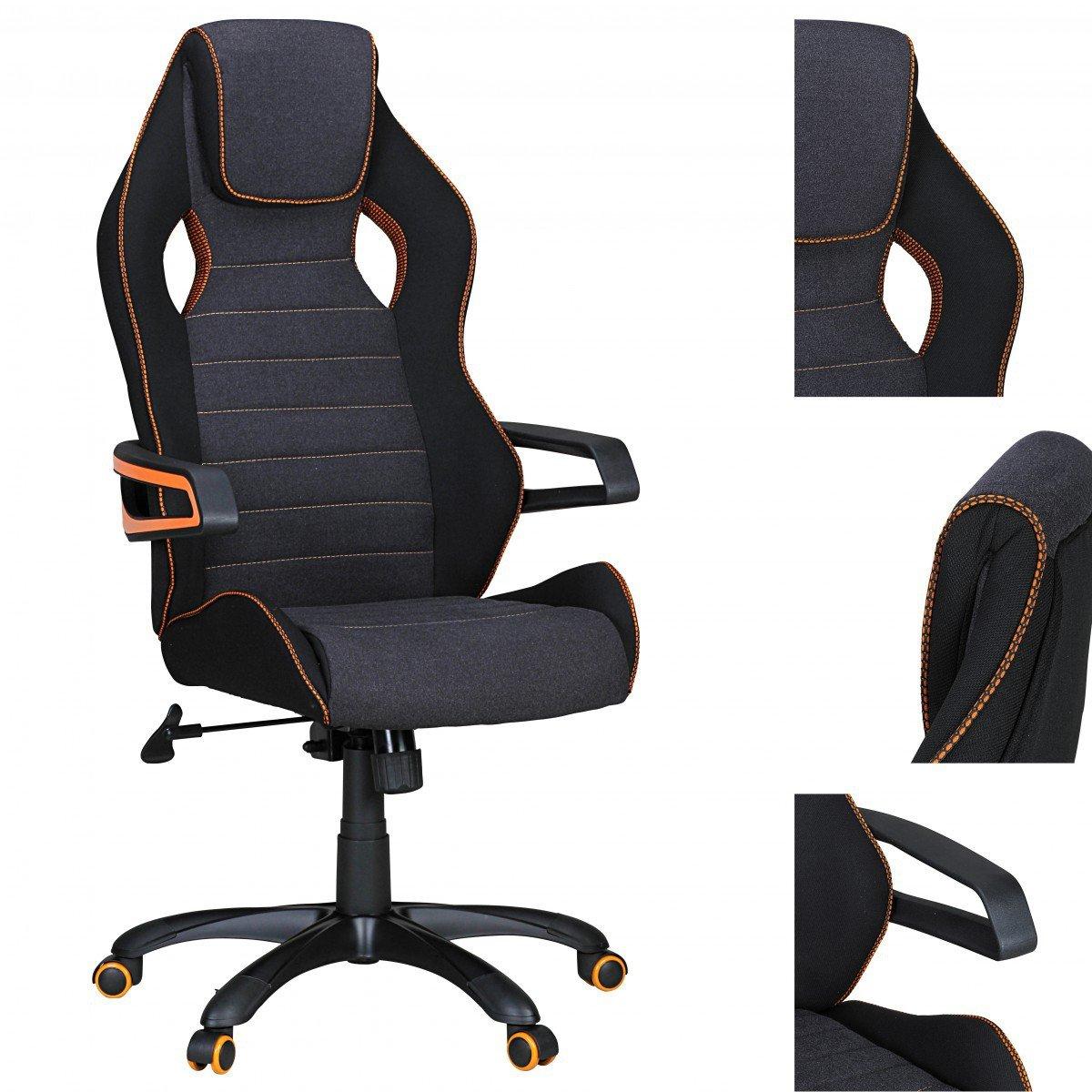 Schreibtischstuhl modern grau  FineBuy Bürostuhl VINO Gaming Chefsessel mit Armlehne gepolstert ...