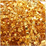 PACKQUEEN Crinkle Cut Paper Shred Filler, Metallic Gold Shredded Paper for Gift Baskets, Crinkle Paper for Gift Wrapping (0.5 LB)