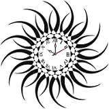 Syga Sun Design PVC Vinyl Wall Clock (35 cm x 17 cm x 5 cm, Black)